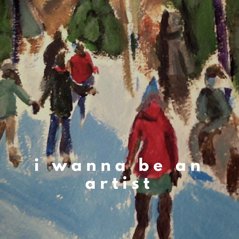 small gouache painting of skaters in St. John's, The Loop.