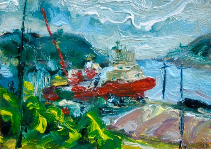 mini painting of St. John's working harbour